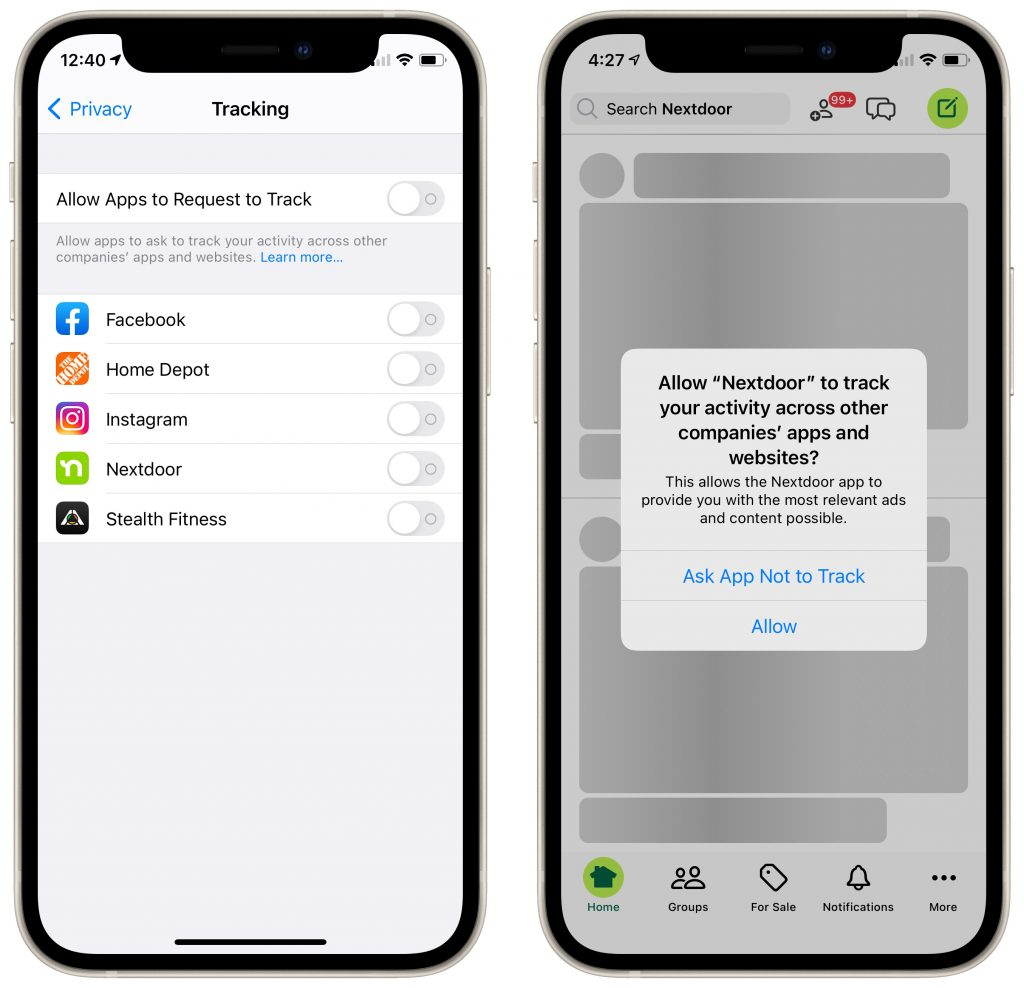 Screenshots of the Privacy > Tracking > Allow Apps to Request to Track setting and an example of the Nextdoor app asking for permission to track your activity across other companies' apps and websites